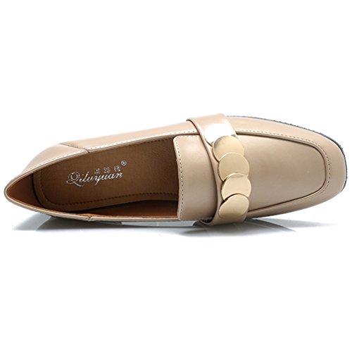 JRenok Mocassins Femme Élégant Confortable Cuir Chaussures à Paillettes Derbies Casual Mode Résistant à L'Usure Beige kUTR3qwEfX