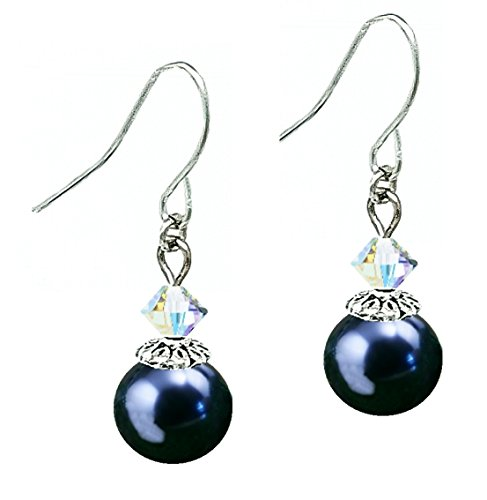 A-Ha Drop Earrings with Swarovski (tm) Crystal Pearls (10mm) - Night Blue (E557)
