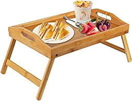 Bamboo Bed Tray Table With Foldable Legs, Breakfast Tray for Sofa, Bed, Eating, Working, Used As Laptop Desk Snack Tray...