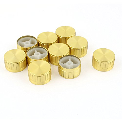 10pcs 6mm Dia Light Lamp Dimmer Control Rotary Knob Cap Gold (Knob Cap)