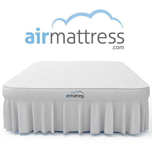 Air Mattress QUEEN size - Best Choice RAISED Inflatable Bed with Fitted Sheet and Bed Skirt - Built-in High Capacity Airbed Pump (Raised Queen Air Mattress)