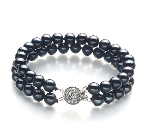 Black 6-7mm AA Quality Freshwater Cultured Pearl Bracelet-8 in (7mm Aa Freshwater Pearl Bracelet)
