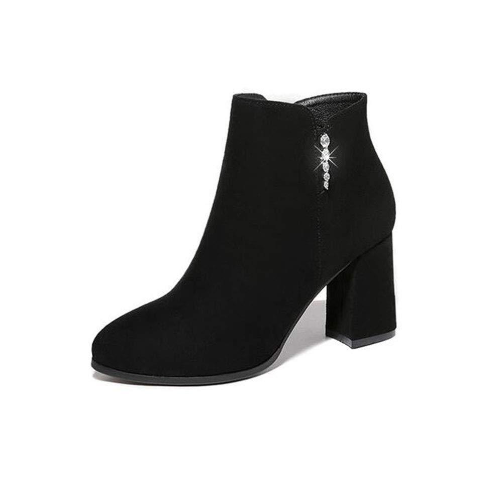 YIWU Dicke Ferse Martin Stiefel Dünne Stiefel Herbst Weibliche Stiefel Plus Samt High Heels Peeling Stiefelies (Farbe   Schwarz Größe   EU39 UK6.5 CN40)