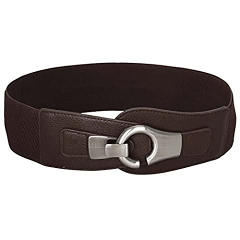 BMC High Waist Silver Brushed Metal Hook and Eyelet Buckle Wide Dark Brown Elastic Fashion Belt - Eyelet Belt