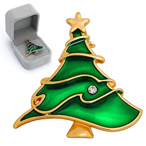 Christmas Tree Brooch Enamel Pin, Luxiv Tree Badges Enamel Lapel Pin Cartoon Brooch for Women Backpack Pin with Gift Box for Clothing, Bags, Hats, Scarves (Pin Christmas Tree Art)