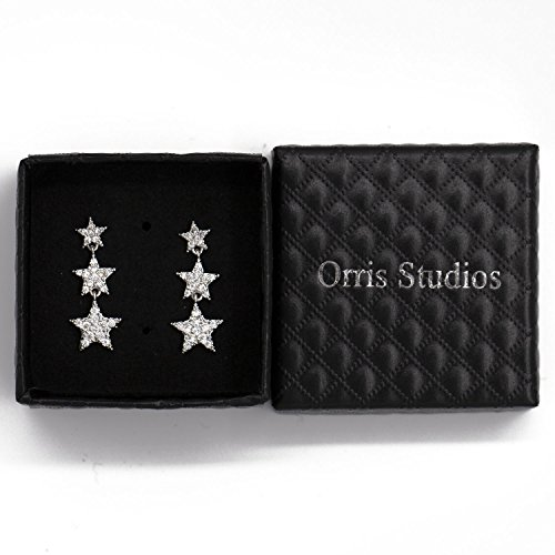 Orris Studios Multi Stars Dangle Earrings Long Drop Dangling Stud Silvery ()