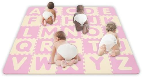 Play Learn Soft Safe SoftFloors 5' x 5' x 5/8″ Baby Pink / Ivory