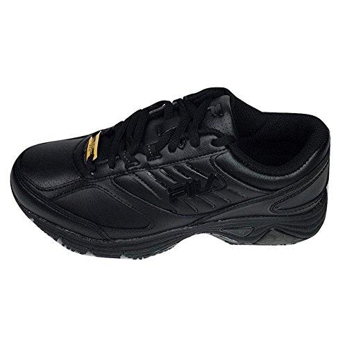 Fila Women's Memory Flux Slip Resistant Sneakers, Black Leather, 7.5 W
