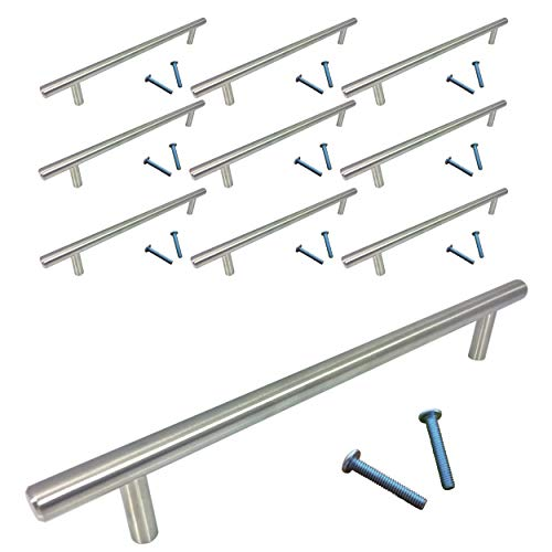 (Swiss Kelly Stainless Steel Kitchen Cabinet Pull Drawer Handle (10 Pack, L: 9