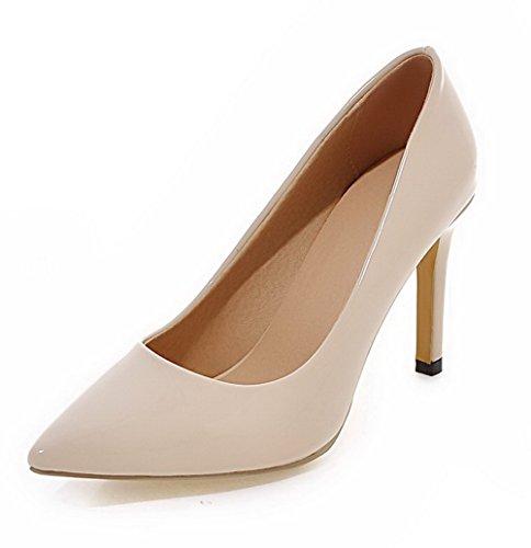 AllhqFashion Damen Stiletto Lackleder Ziehen auf Spitz Zehe Pumps Schuhe  Cremefarben