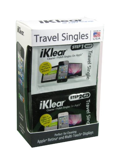 iKlear Travel Singles with Wet and Dry Wipes Plus Microfiber Cloth (Iklear Travel Singles)
