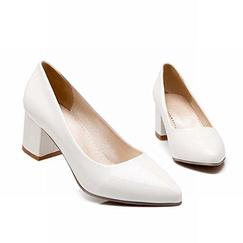 Spitzschuh Schuhe Carol Weiß Mittlere Kurze Ferse Shoes Damen Einfarbig nZTwq7YZ