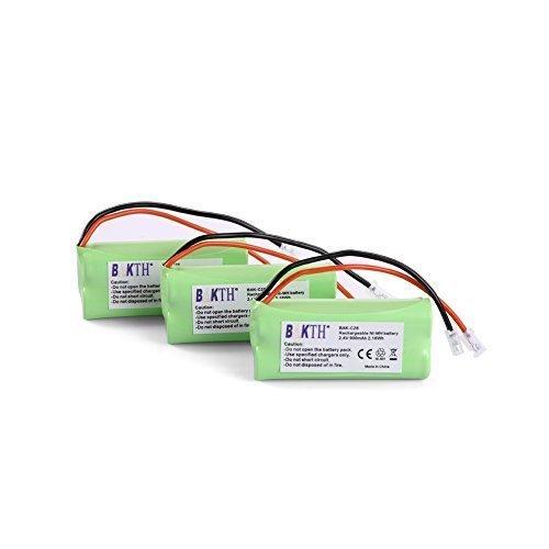 3 Packs BAKTH 2.4V 900mAh Rechargeable Cordless Phone Telephone batteries for Uniden BT-1021, BT1021