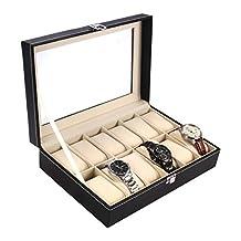 Ohuhu 12-Slot Leather Watch Box/Watch Case/Jewelry Box/Watch Jewelry Display Storage with Glass Top and 12 Removal Storage Pillows, Black
