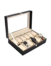 Ohuhu 12-Slot Leather Watch Box/Watch Case/Jewelry Box/Watch Jewelry Display Storage with Glass Top and 12 Removal Storage Pillows, Black