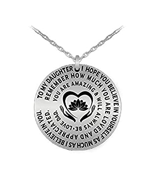 Love Engraved Dedication Personal Gift Charm Necklace From Dad To Girl Silver Father Daughter Pendant