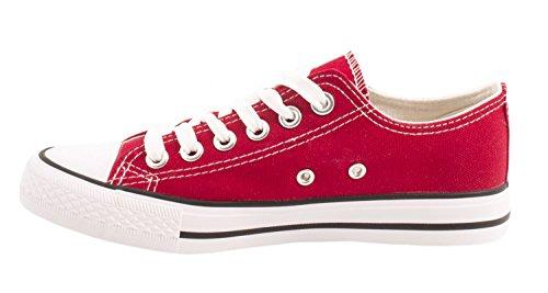 Elara Unisex Sneaker | Bequeme Sportschuhe für Herren und Damen | Low Top Turnschuh Textil Schuhe 36-46 Rot -