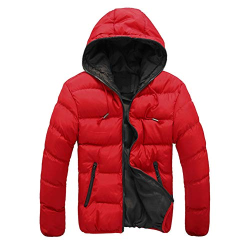 Padded Packable Coat Outwear Quilted Hooded Jacket Men's Red Winter Puffer wFS7FRq