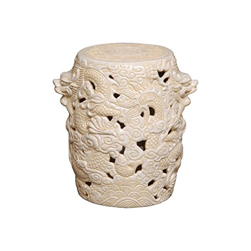 Emissary 1202CM Dragon Ceramic Stool, 12 by 15-Inch, Cream by Emissary