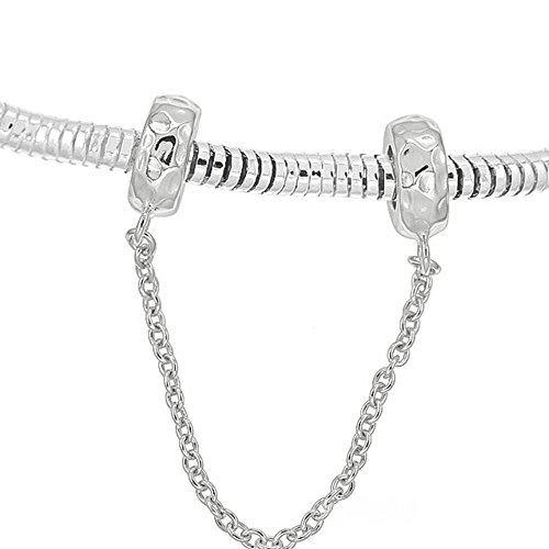 Sterling Silver Hammered Rubber European Charm Bracelet Stopper Safety Chain -