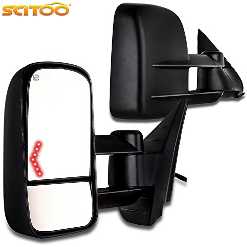 (SCITOO Towing Mirrors Chrome Replace Mirror Parts with Indicator Light Puddle Light Electrical Operated Defrosting Function Compatible for fit 07-13 Chevy/GMC Silverado/Si (Just 07 New Body Style))