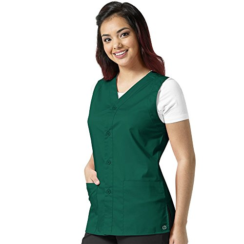 Three Button Uniform - WonderWork Unisex Button Front Solid Scrub Vest Large Hunter