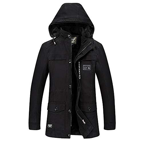 e3f271fad21bf iYYVV Men's Winter Medium Length Hoodie Thickened Plus Size Cotton  Windbreaker Coat Black