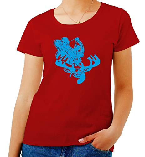 FUN1183 Shirt T Deer Donna Bow Rosso Hunting Ctdxzwq