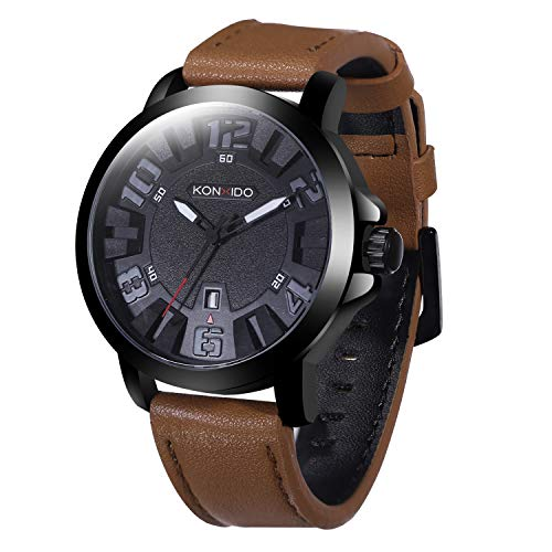 Mens Leather Wrist Watch Leather Strap Analog Quartz Classical Casual Watches for Men, Teens, Boys, 30M Waterproof, MIYOTA Movement, Auto Date ()