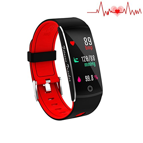Huangchao Inc Fitness Tracker, Smart Watch 4 Sports Mode, Heart Rate Monitor IP67 Waterproof Activity Tracker, Sleep & Blood Pressure Monitor, Calorie/Step Counter Smart Wristband for iOS Android