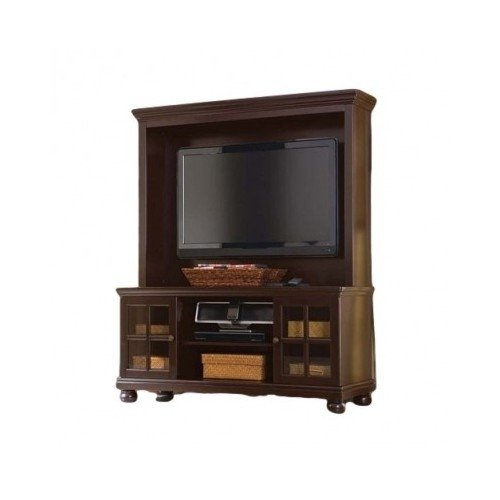 - Espresso Tv Stand with Hutch, for Flat Panel LCD or LED Tvs up to 50 Inch