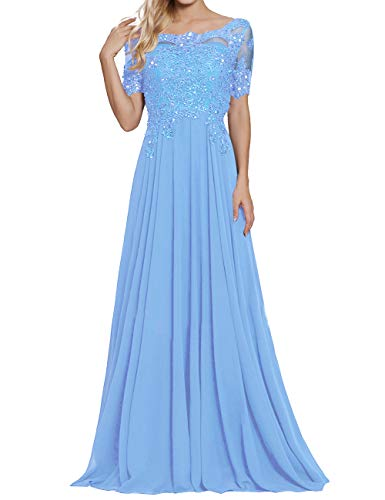 A Line Mother of The Bride Dresses for Wedding Party Gown Long Prom Dress Light Blue - Womens Wedding Light