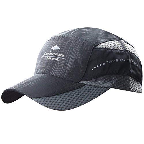 (Mens Golf Baseball Race Running Summer Mesh Tennis Ball Quick Dry Hat Cap Visor Black)