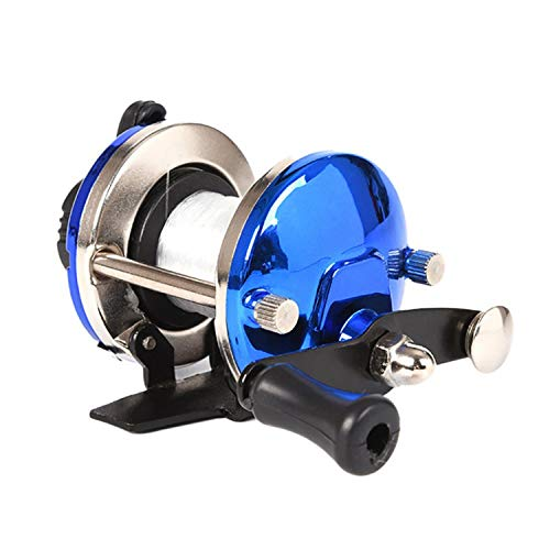 Mini Ice Fishing Reel Metal Bait Casting Spinning Boat Fish Water Wheel Baitcast Roller Coil with 50M Wire Blue Red,Oy0216L,1,Right Hand ()