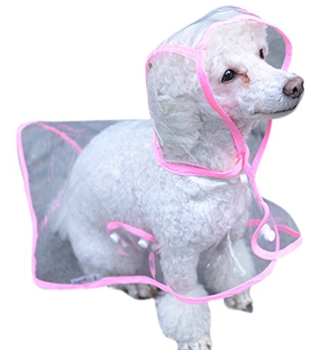Topsung Waterproof Puppy Raincoat Pink Transparent Pet Rainwear Clothes for Small Dogs/Cats, Size M -