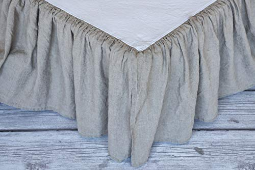BEALINEN Linen Bed Skirt with Ruffles Stone Washed Softened European Linen Queen Size Deep Flax Gray Color ()