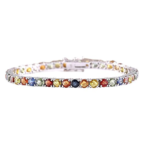 14.64 Carat Natural Multicolor Ceylon Sapphire 14K White Gold Tennis Bracelet for Women Exclusively Handcrafted in USA (Sapphire Multi 14k Color)