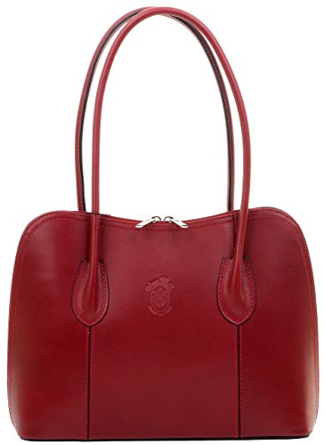 Primo Sacchi Italian Smooth Dark Red Leather Classic Long Handled Handbag Tote Grab Shoulder Bag