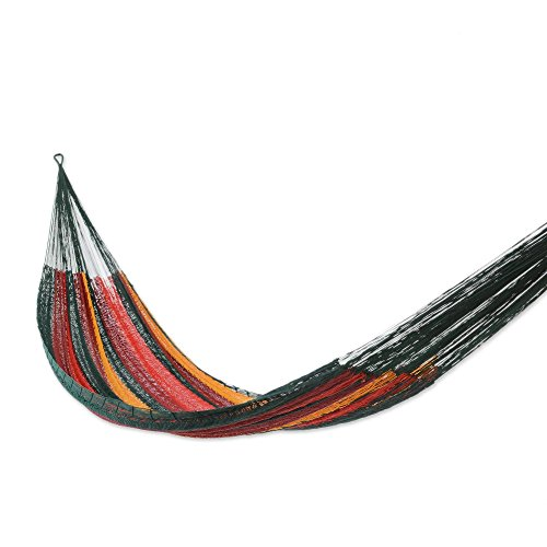NOVICA Yellow Blue Red Striped Hand Woven Cotton Mayan 2 Person XL Rope Hammock with Hanging Accessories, Red Wine Sunset