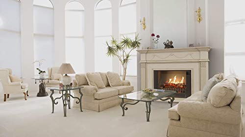 Elegant living room with decorative fireplace mantel.