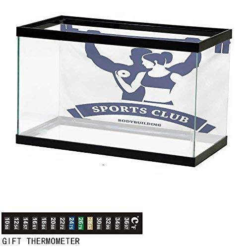 wwwhsl Aquarium Background,Fitness,Sports Bodybuilders Club Man and Woman with Dumbbells Muscles Biceps Form,Dark Blue White Fish Tank Backdrop 36