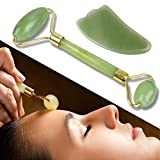 Cleansing Crystals Quick - Anti-Aging Jade Roller for Face & Neck + Gua Sha Stone Gift Set – Himalayan Jade Facial Massage Roller Brightens & Evens Skin, Fights Wrinkles – 2 Jade Rollers in 1 for Firmer,Younger Looking Skin