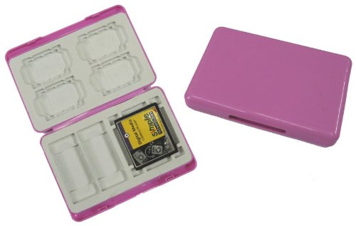 1 Pink Memory Card Case / Holder for Compact Flash Cards, Secure Digital Cards, Micro SD Cards and Memory Sticks - MSMM14PI