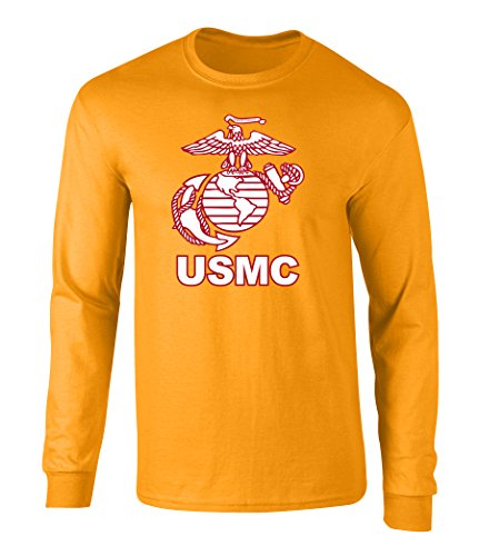 US Marines USMC Eagle Graphic Long Sleeve Officially Licensed T Shirt Gold Large (Large Eagle Gold)