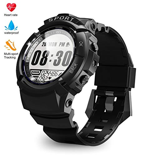 Sport Watch for Men Fitness Tracker Smart Activity Tracker IP68 164ft Professional Waterproof HR with Heart Rate Monitor, Step/Calorie Counter, Pedometer, Compass, 6 Sports Mode, 30 Days Working Time - Digital Monitor Rate Heart