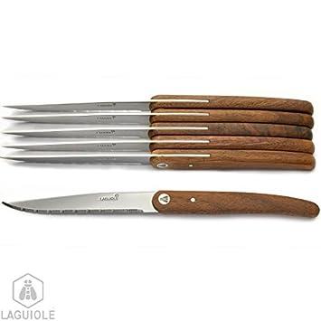 Estuche 6 cuchillos mango de madera exótica, forma limpia y ...