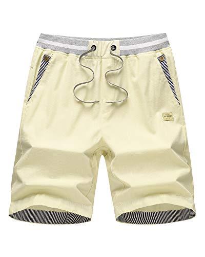 LTIFONE Men's Casual Shorts Slim Fit Drawstring Summer Beach Shorts with Elastic Waist and Pockets(Light Khaki,XXL)