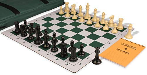 - Professional Jumbo-Floppy Chess Set Package Black & Camel Pieces - Green
