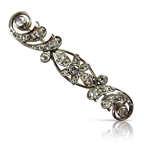(Milano Jewelers 1.20CT Rose Cut Diamond 14K White Gold Flower Filigree PIN Brooch)
