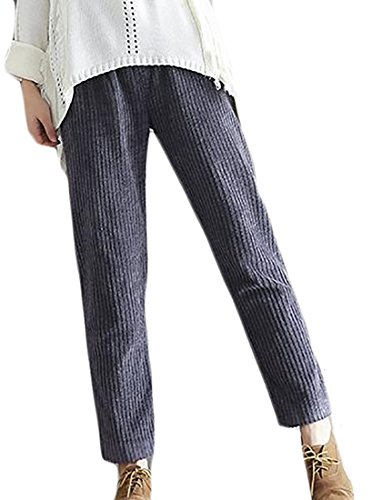 rduroy Casual Elastic Waist Loose Autumn Harem Pants Grey Small ()